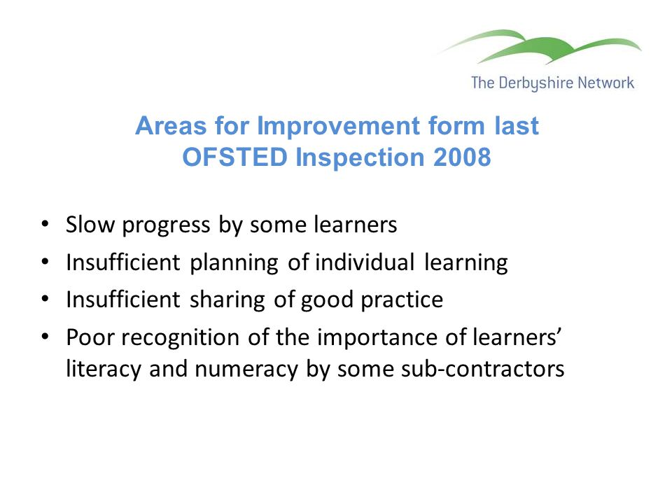 Areas for Improvement form last OFSTED Inspection 2008