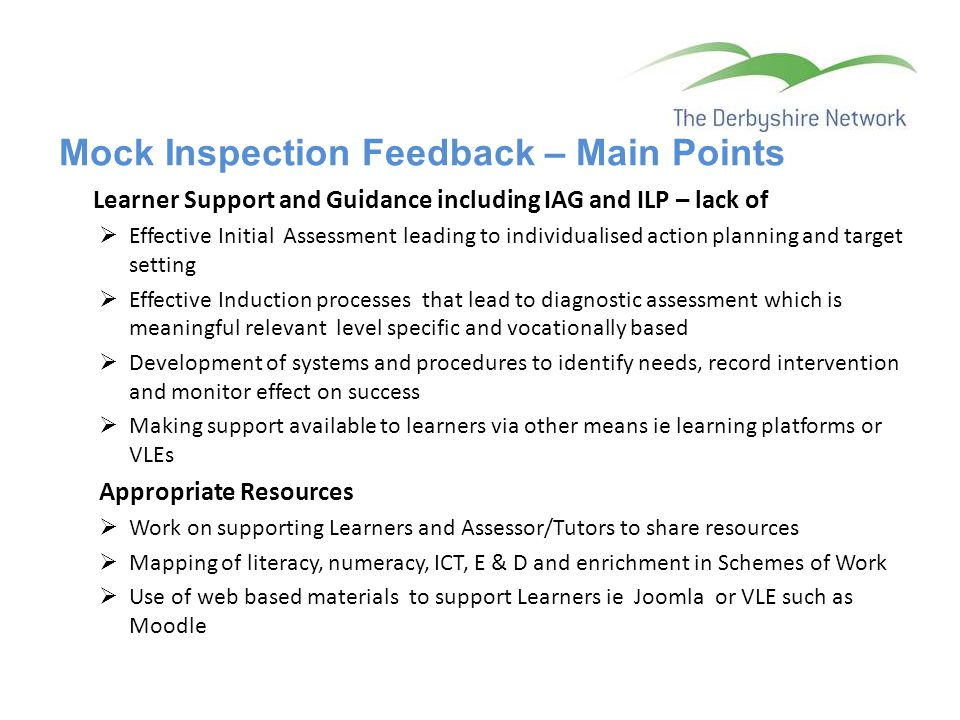 Mock Inspection Feedback – Main Points