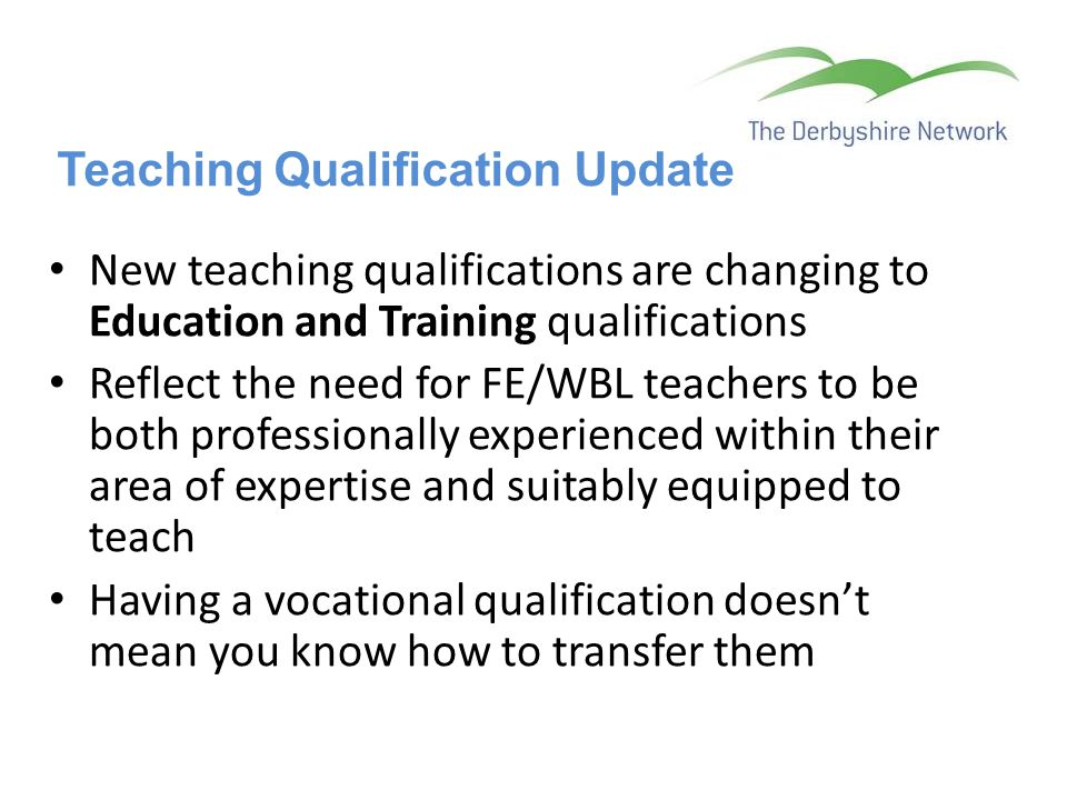 Teaching Qualification Update