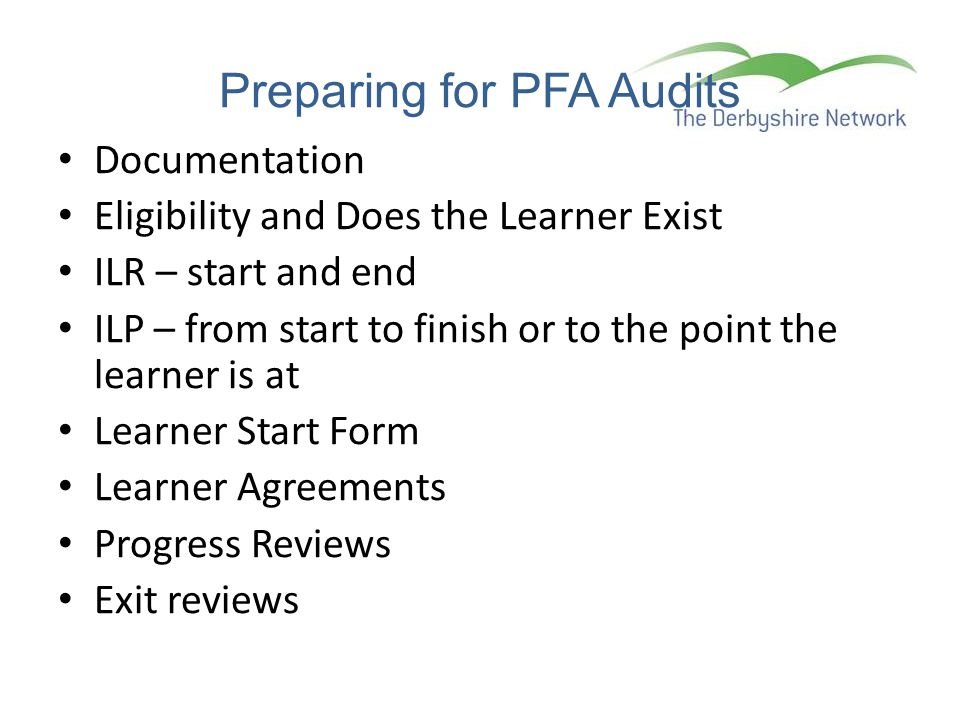 Preparing for PFA Audits
