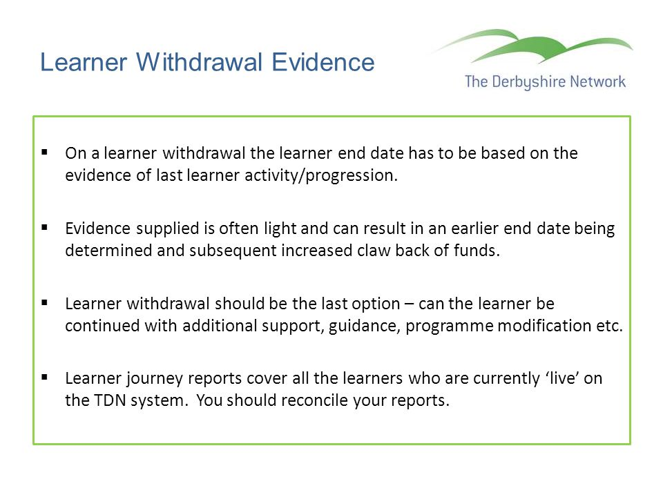 Learner Withdrawal Evidence