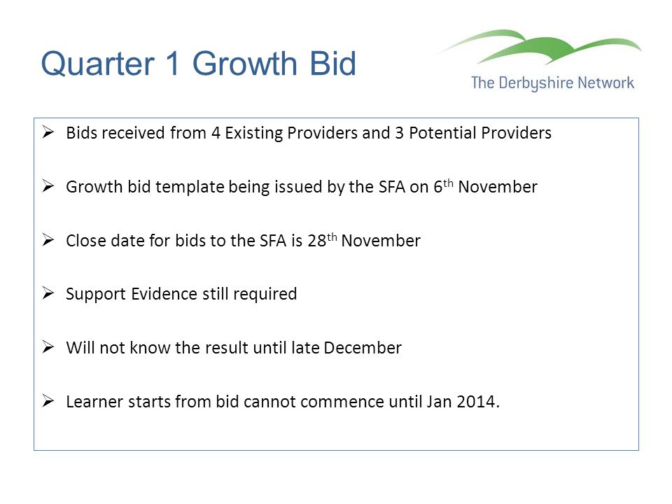 Quarter 1 Growth Bid Bids received from 4 Existing Providers and 3 Potential Providers. Growth bid template being issued by the SFA on 6th November.