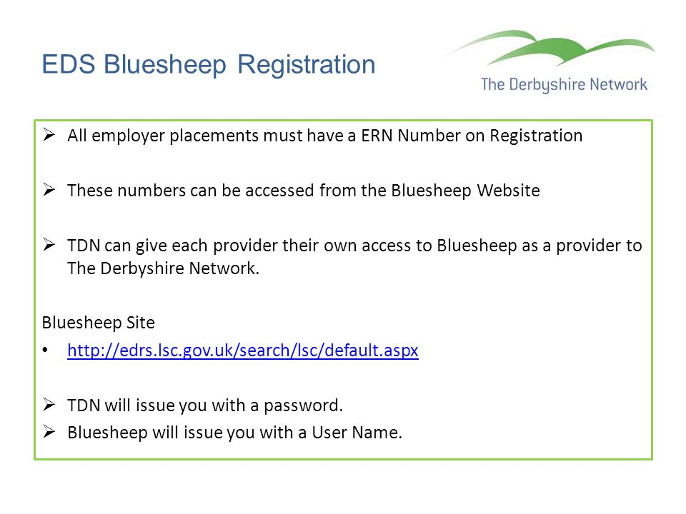EDS Bluesheep Registration