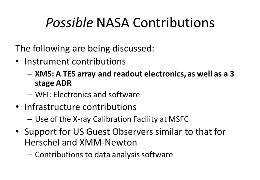 Possible NASA Contributions