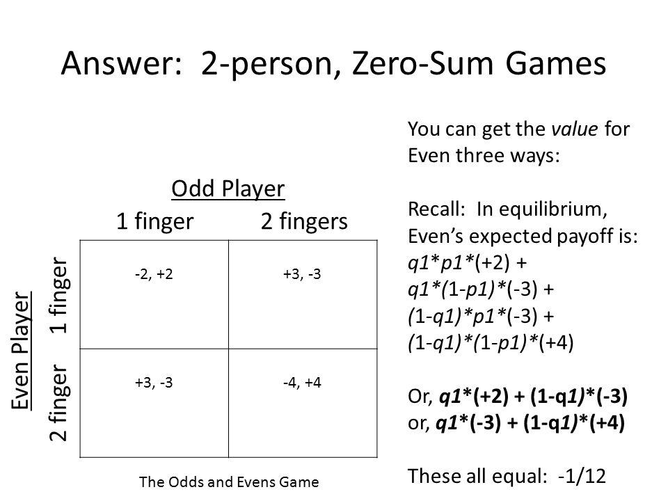 Answer: 2-person, Zero-Sum Games
