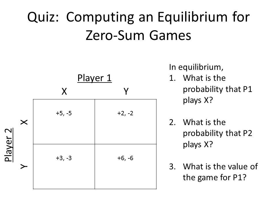Quiz: Computing an Equilibrium for Zero-Sum Games
