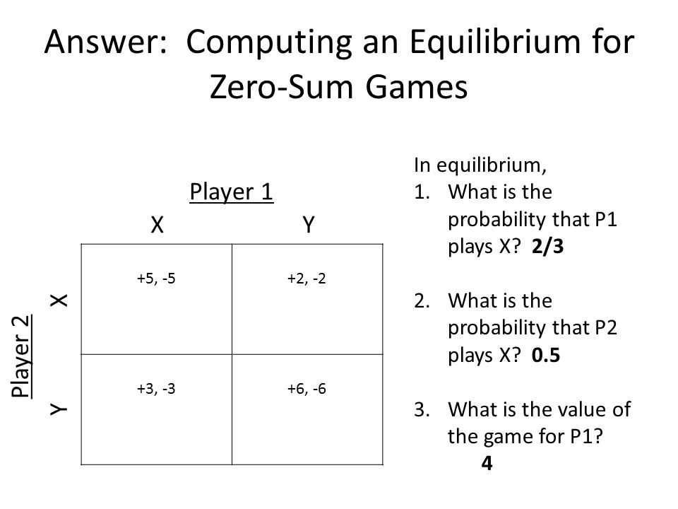 Answer: Computing an Equilibrium for Zero-Sum Games