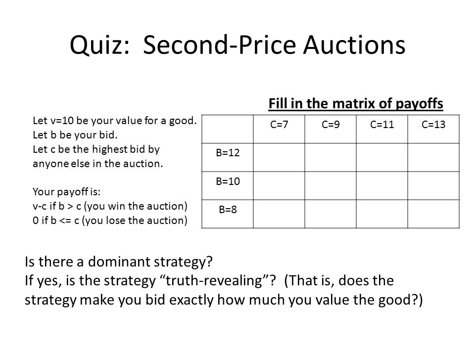 Quiz: Second-Price Auctions