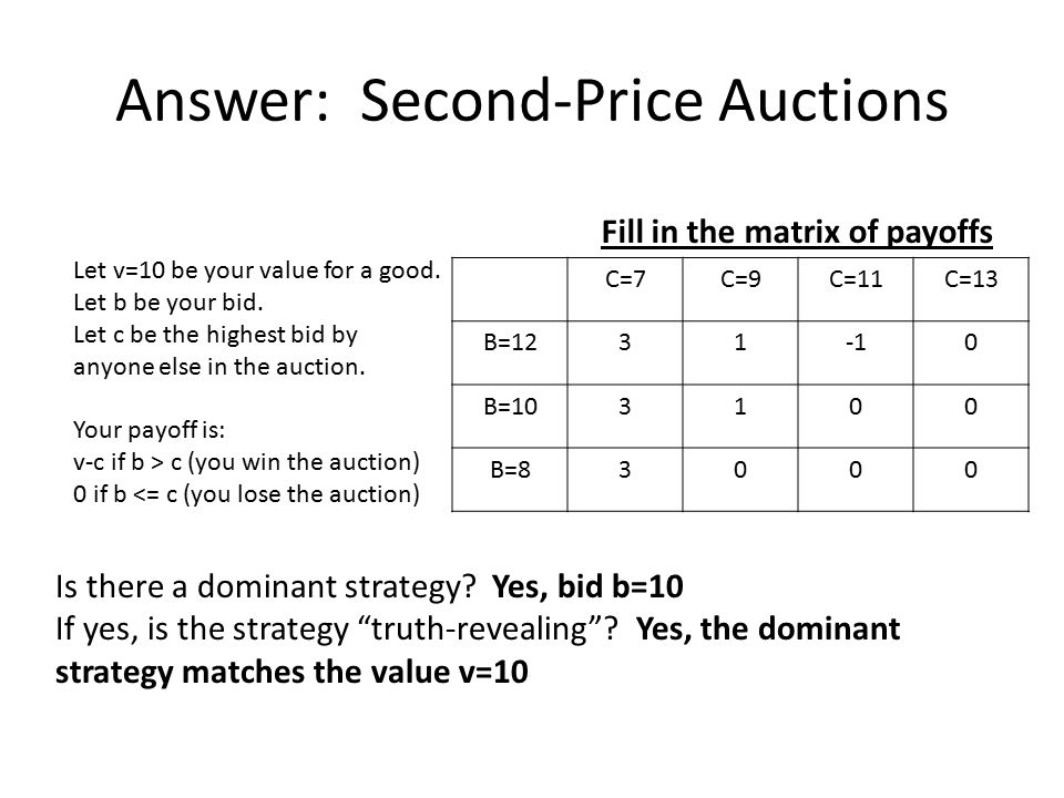 Answer: Second-Price Auctions