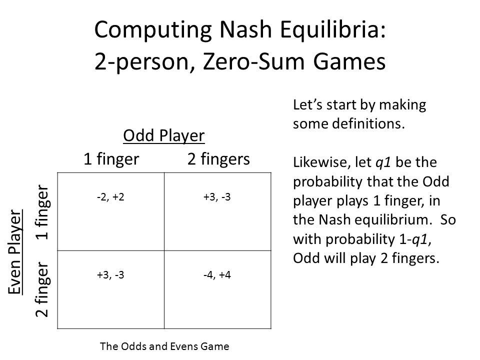 Computing Nash Equilibria: 2-person, Zero-Sum Games