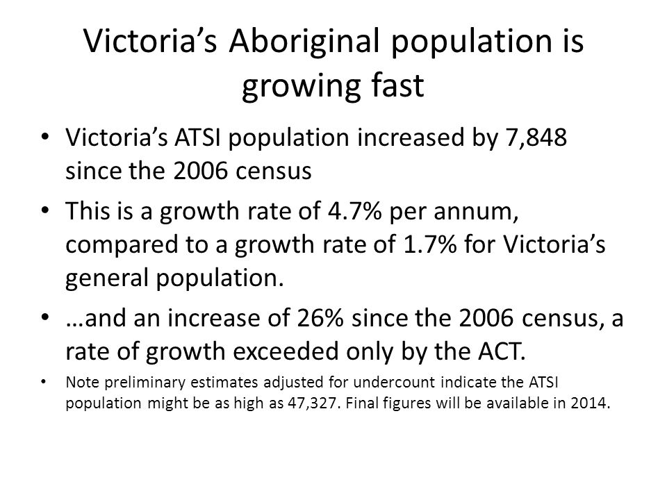 Victoria's Aboriginal population is growing fast