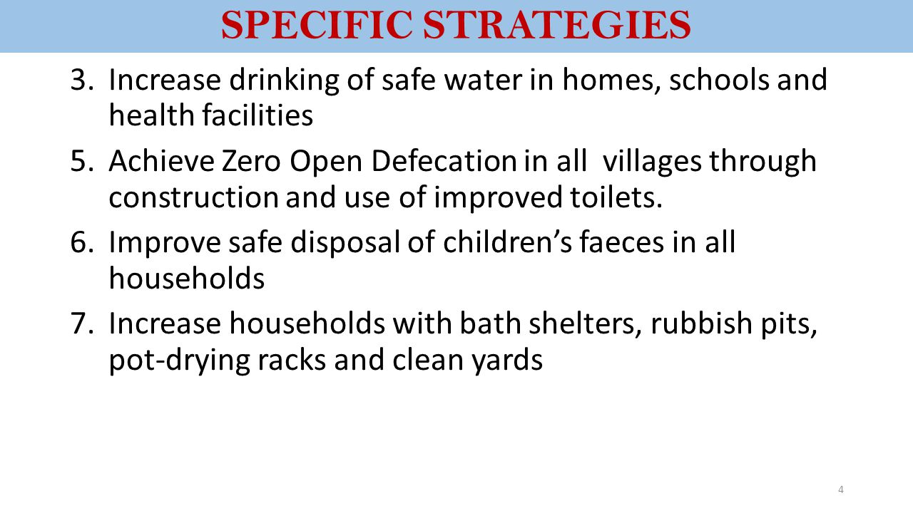 SPECIFIC STRATEGIES Increase drinking of safe water in homes, schools and health facilities.
