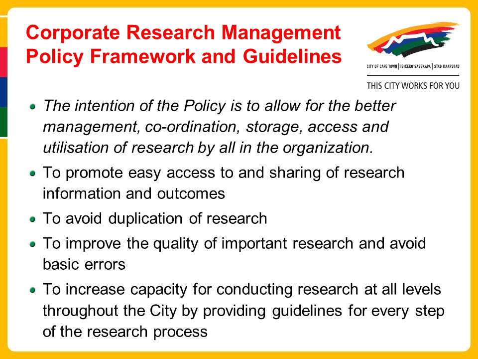 Corporate Research Management Policy Framework and Guidelines