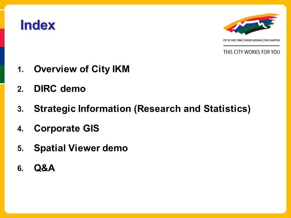 Index Overview of City IKM DIRC demo