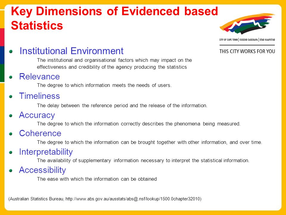 Key Dimensions of Evidenced based Statistics