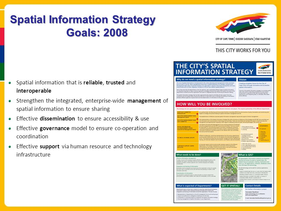 Spatial Information Strategy Goals: 2008