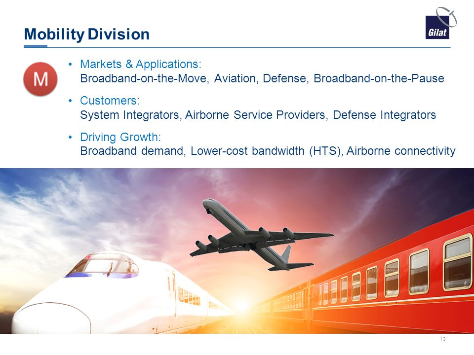 Mobility Division Markets & Applications: Broadband-on-the-Move, Aviation, Defense, Broadband-on-the-Pause.