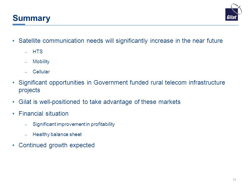 Summary Satellite communication needs will significantly increase in the near future. HTS. Mobility.