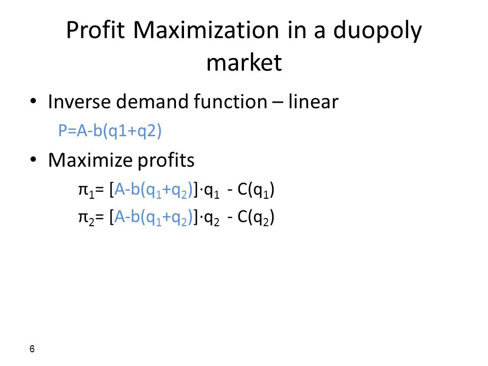 Profit Maximization in a duopoly market