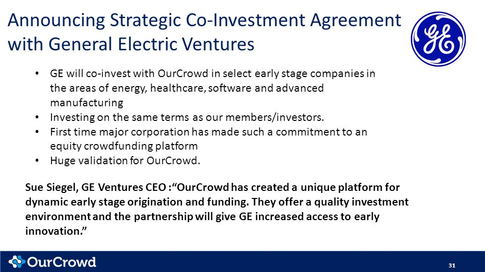 Announcing Strategic Co-Investment Agreement with General Electric Ventures