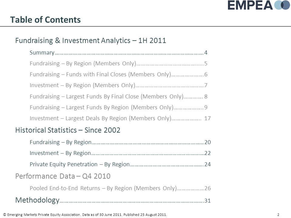 Table of Contents Fundraising & Investment Analytics – 1H 2011
