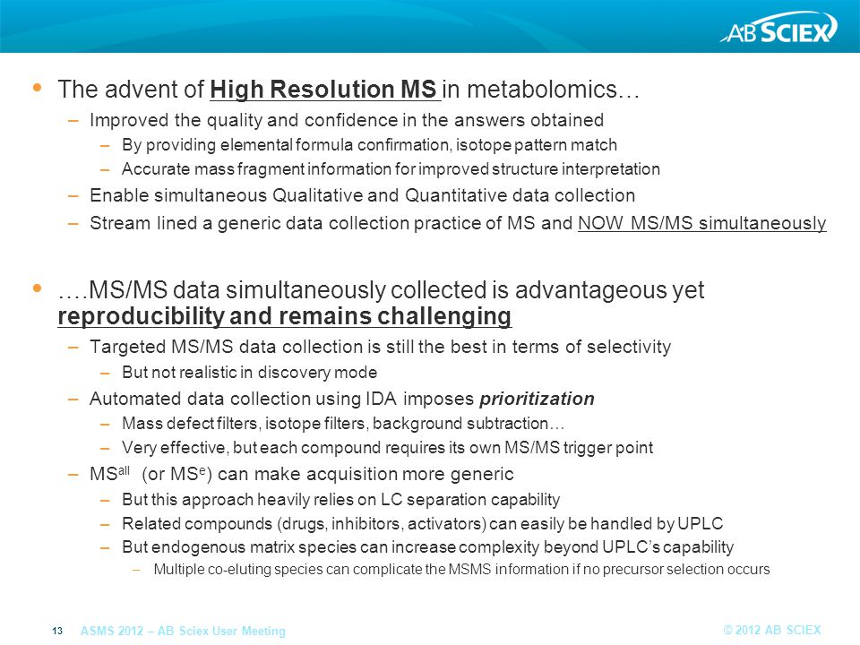 The advent of High Resolution MS in metabolomics…