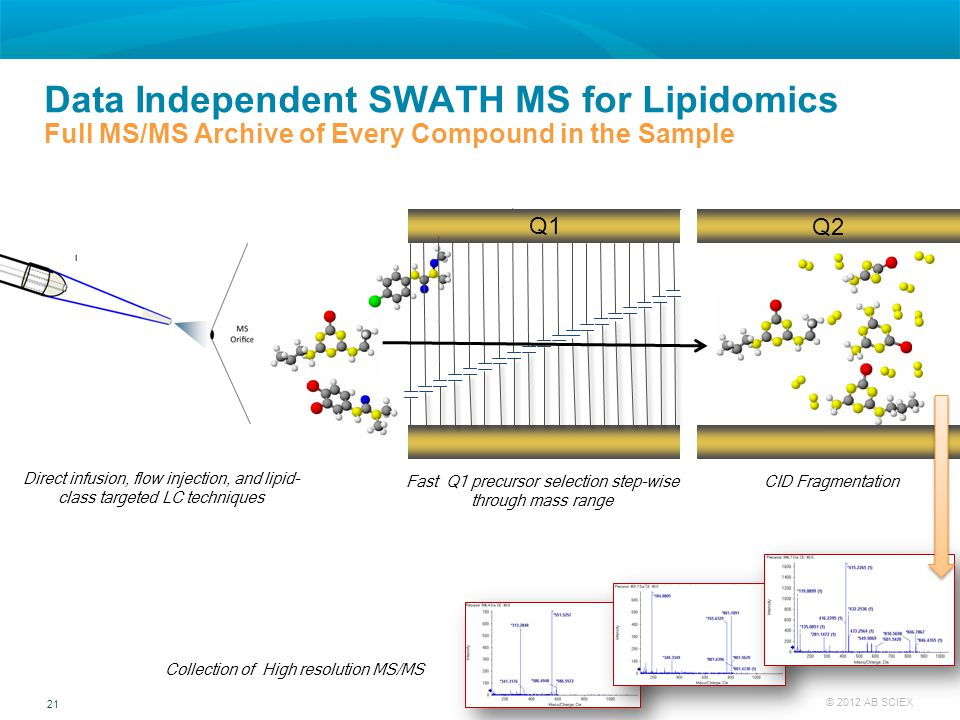 Data Independent SWATH MS for Lipidomics Full MS/MS Archive of Every Compound in the Sample
