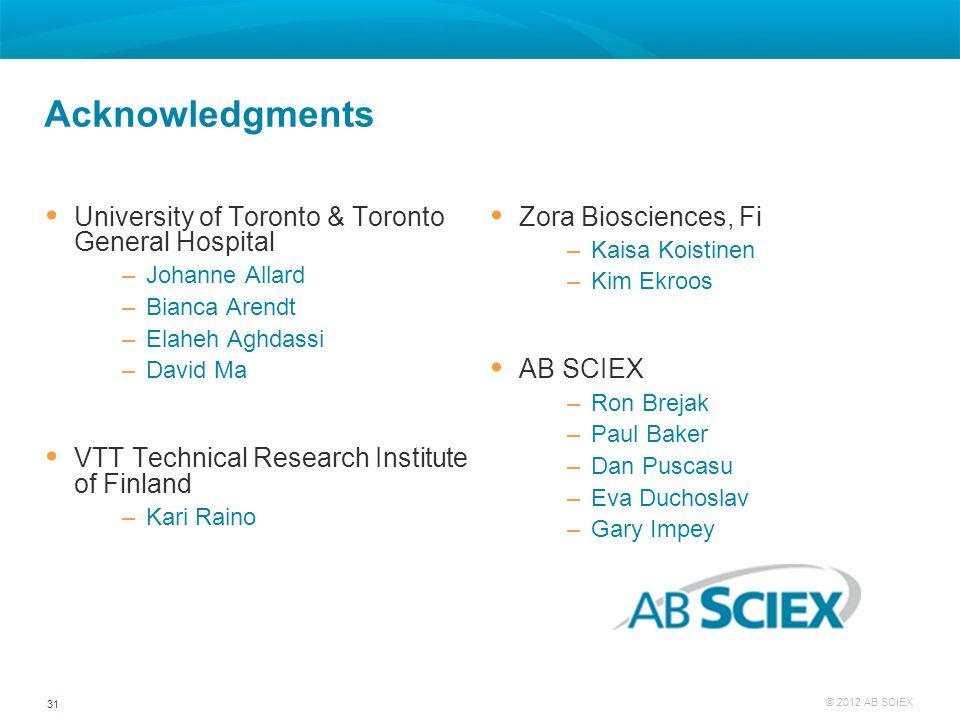 Acknowledgments University of Toronto & Toronto General Hospital