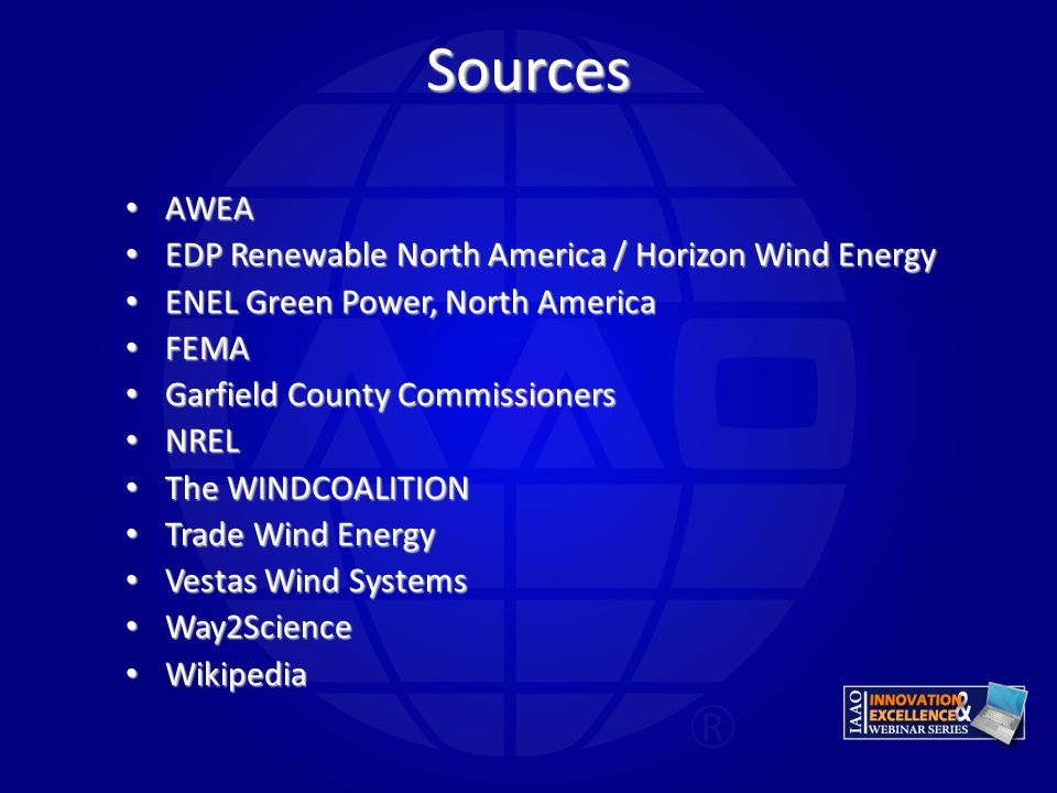 Sources AWEA EDP Renewable North America / Horizon Wind Energy