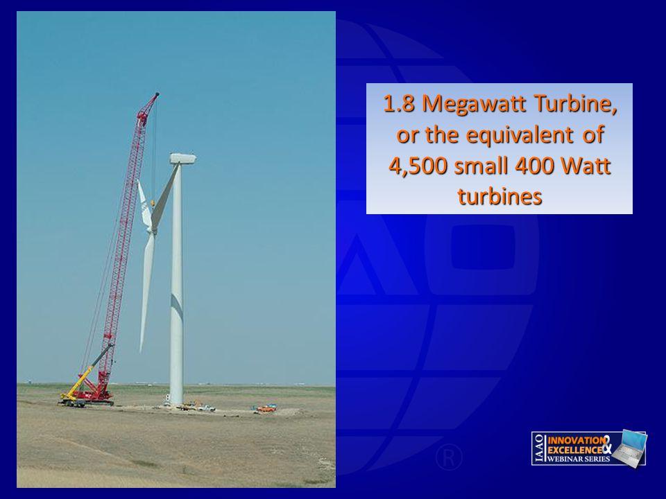 1.8 Megawatt Turbine, or the equivalent of 4,500 small 400 Watt turbines