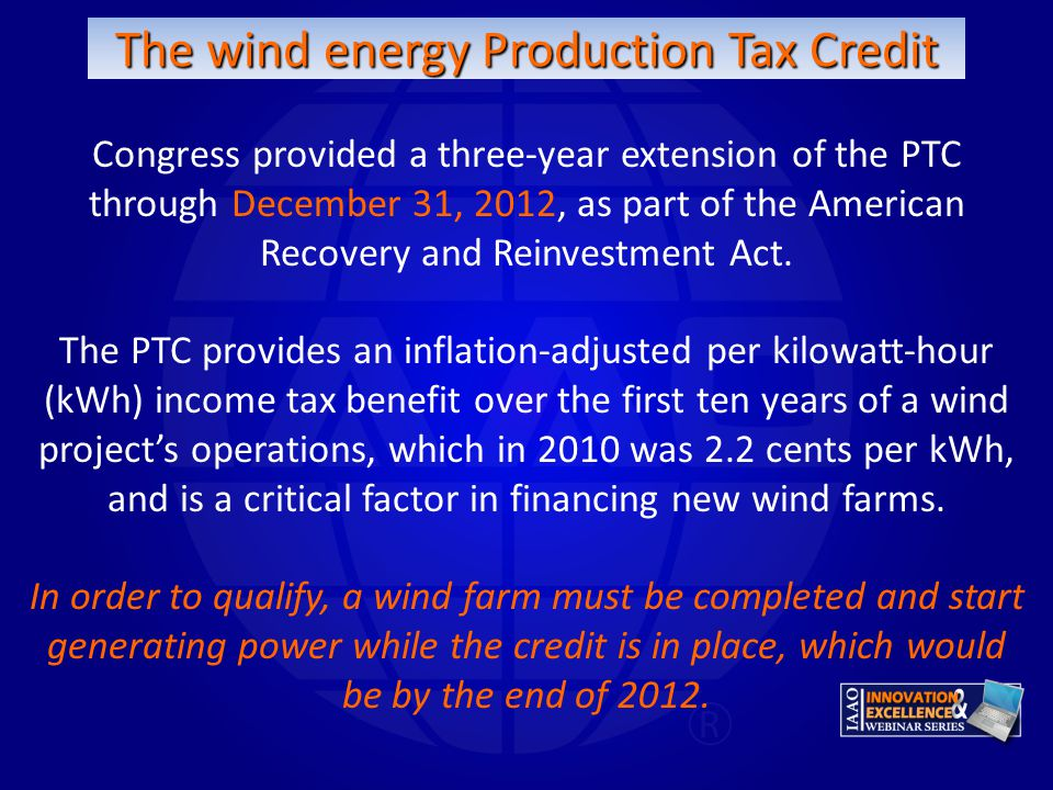 The wind energy Production Tax Credit