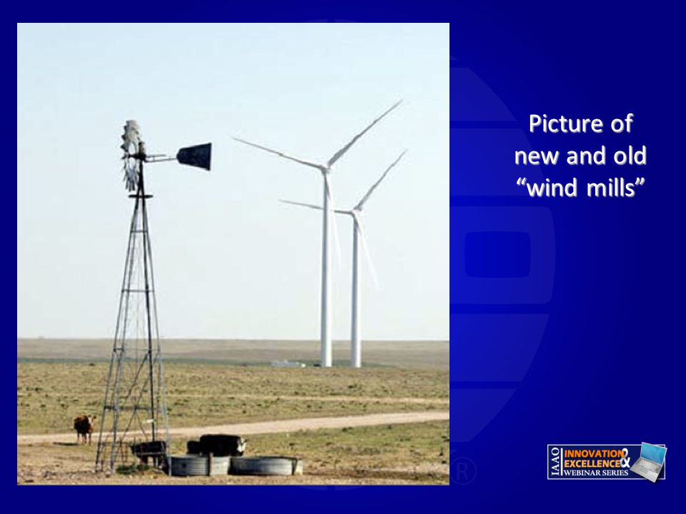 Picture of new and old wind mills