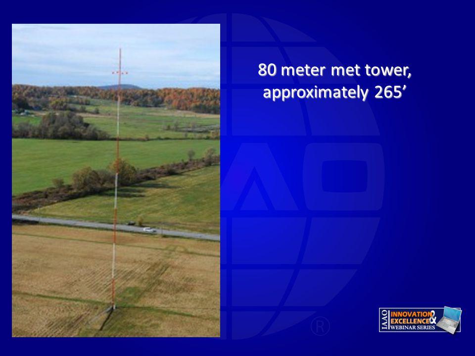 80 meter met tower, approximately 265'