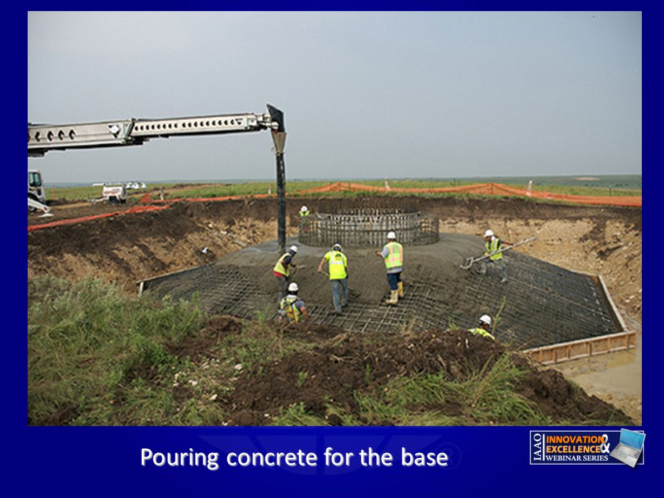 Pouring concrete for the base