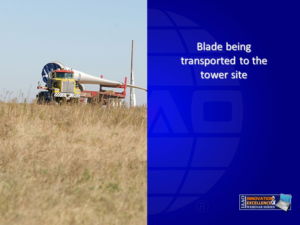 Blade being transported to the tower site