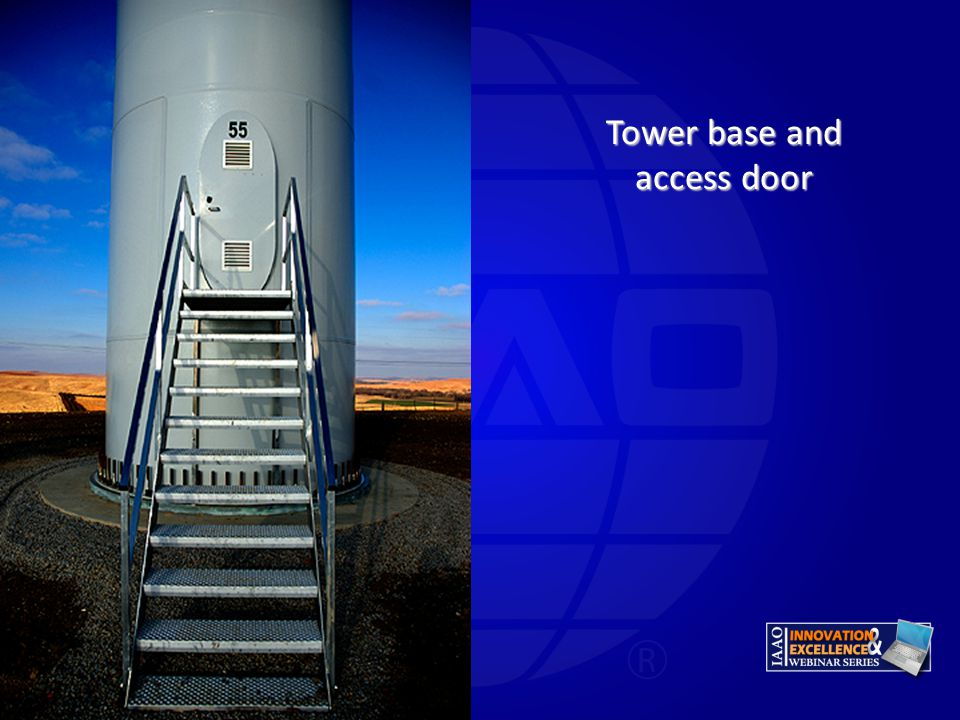 Tower base and access door