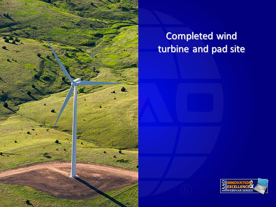 Completed wind turbine and pad site