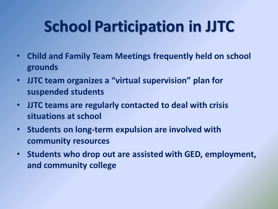 School Participation in JJTC