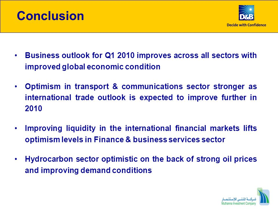 Conclusion Business outlook for Q1 2010 improves across all sectors with improved global economic condition.