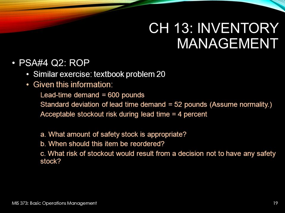 CH 13: Inventory Management