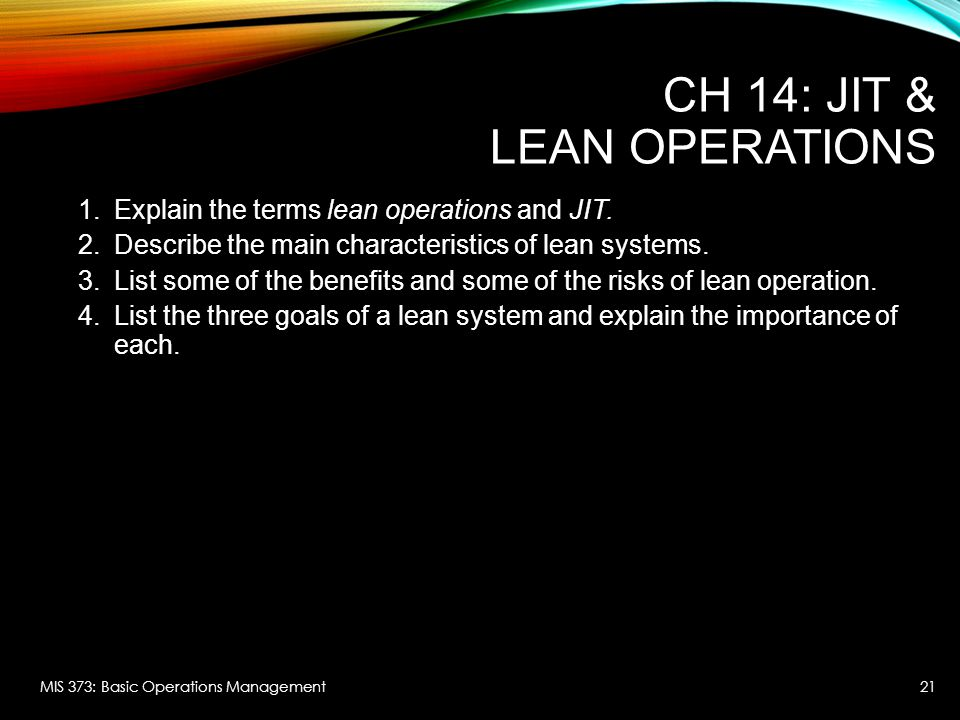 CH 14: JIT & Lean Operations