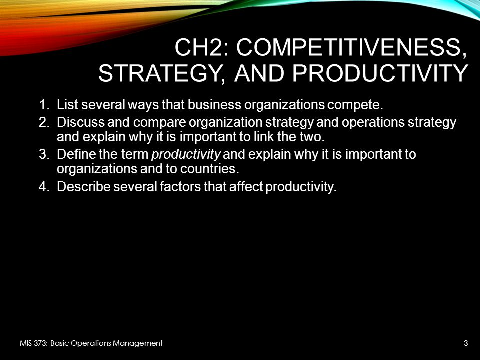 CH2: Competitiveness, Strategy, and Productivity
