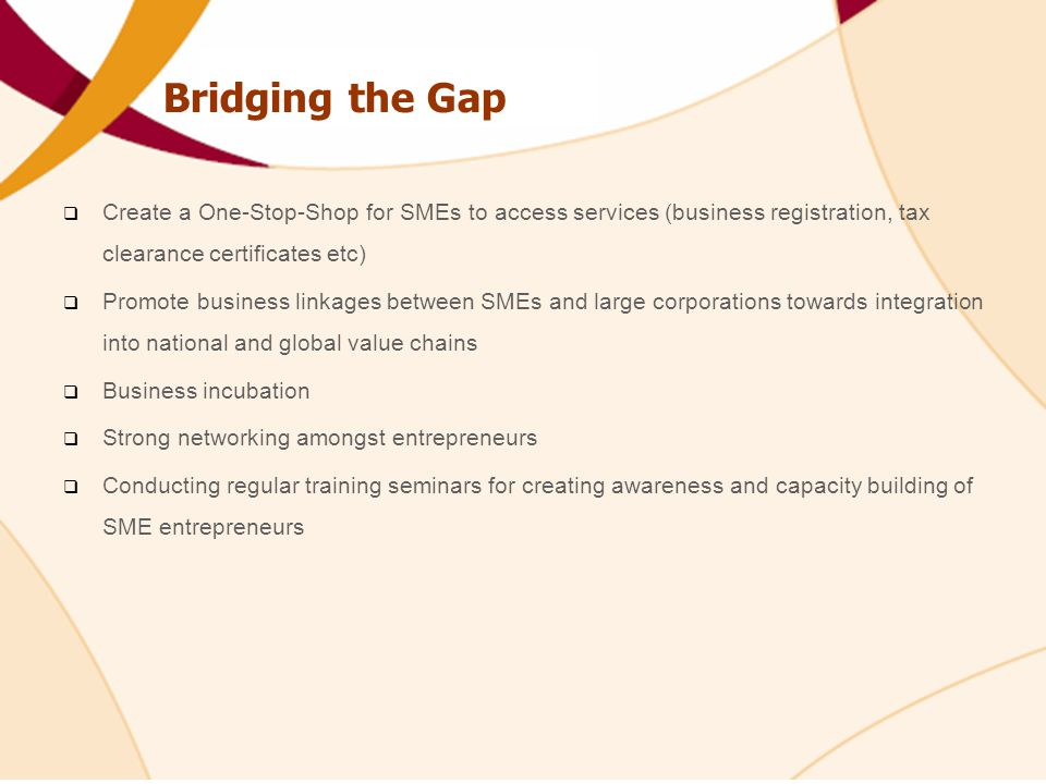 Bridging the Gap Create a One-Stop-Shop for SMEs to access services (business registration, tax clearance certificates etc)