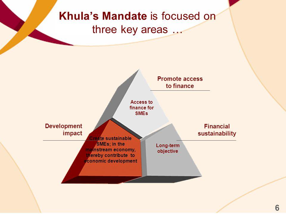 Khula's Mandate is focused on three key areas …