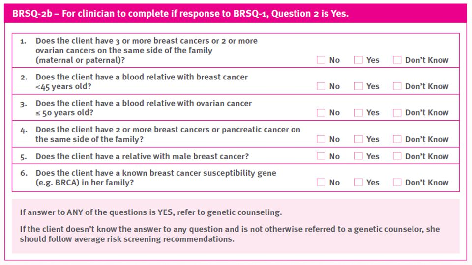If she answered yes to having a relative with breast or ovarian questions, you can ask her these questions to determine if she should be seen by a specialist.