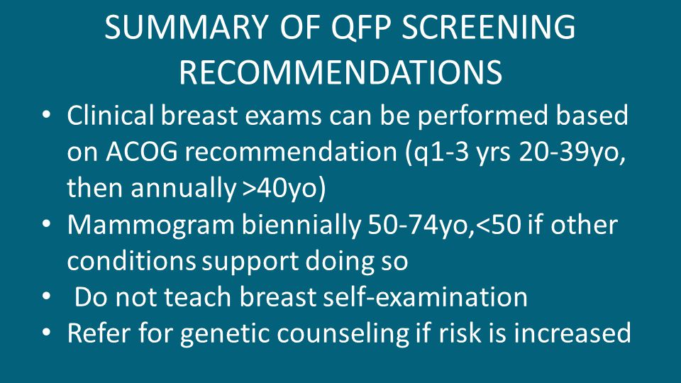 SUMMARY OF QFP SCREENING RECOMMENDATIONS