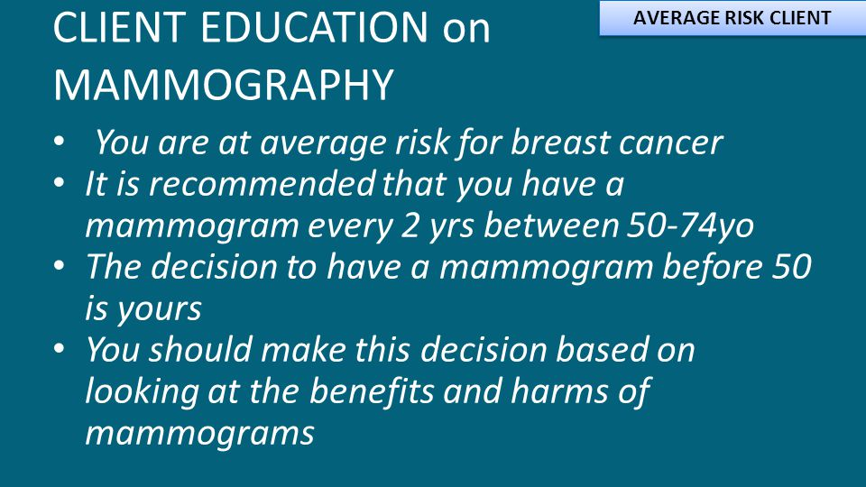 CLIENT EDUCATION on MAMMOGRAPHY