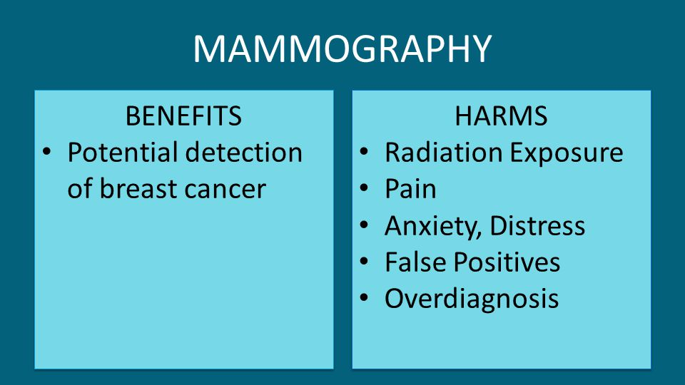 MAMMOGRAPHY BENEFITS Potential detection of breast cancer HARMS