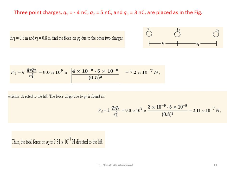 Three point charges, q1 = - 4 nC, q2 = 5 nC, and q3 = 3 nC, are placed as in the Fig.
