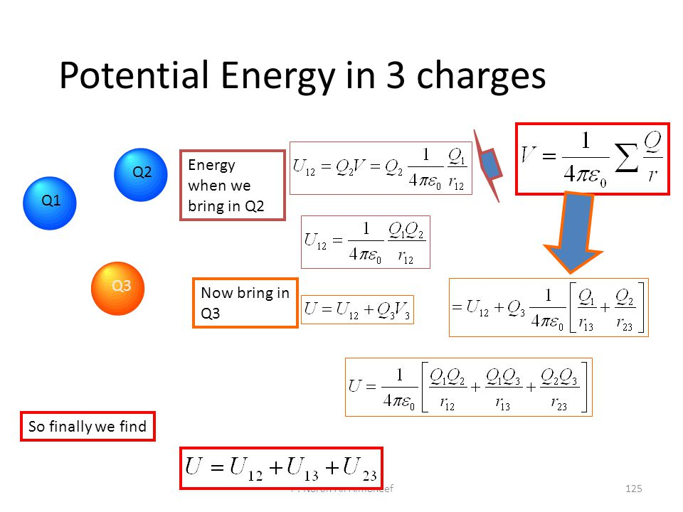 Potential Energy in 3 charges